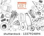 ketogenic diet hand drawn... | Shutterstock .eps vector #1337924894