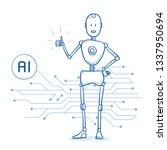 happy humanoid robot showing... | Shutterstock .eps vector #1337950694