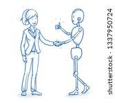 happy humanoid robot with... | Shutterstock .eps vector #1337950724