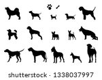 Stock vector the set of silhouettes of different dogs bone and footprint vector 1338037997
