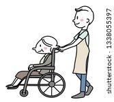 male caregiver pushing elderly...   Shutterstock .eps vector #1338055397