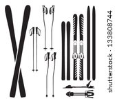 skiing gear set   assortment of ... | Shutterstock .eps vector #133808744