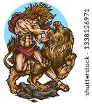 Vector illustration biblical story of samson fighting lion