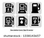 gas station icons. fuel  gas ... | Shutterstock .eps vector #1338143657
