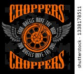choppers   vintage bikers badge. | Shutterstock . vector #1338178511