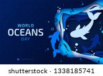 world oceans day  paper art.... | Shutterstock .eps vector #1338185741
