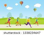 people ride on a skateboard ... | Shutterstock .eps vector #1338234647