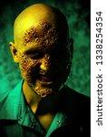 a close up portrait of a sick... | Shutterstock . vector #1338254354
