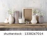 white flowers in neutral...   Shutterstock . vector #1338267014