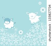 cute sheep cute little lambs or ... | Shutterstock .eps vector #133827734