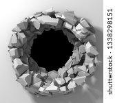 dark destruction cracked hole... | Shutterstock . vector #1338298151