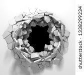 dark destruction cracked hole... | Shutterstock . vector #1338299234