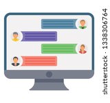 flat online discussion icon... | Shutterstock .eps vector #1338306764