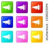 megaphone icons set 9 color...