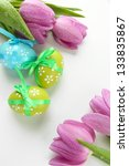 bright easter eggs and tulips ... | Shutterstock . vector #133835867