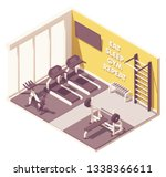 vector isometric gym room... | Shutterstock .eps vector #1338366611