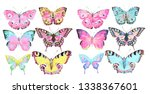 Stock photo beautiful color butterflies set watercolor isolated on a white 1338367601