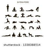 set of black silhouette yoga... | Shutterstock .eps vector #1338388514