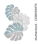 vector tropical pattern with... | Shutterstock .eps vector #1338434474