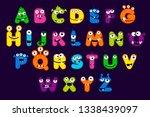 cartoon alphabet font  monster...