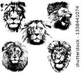 lion head vector illustration.... | Shutterstock .eps vector #1338441074