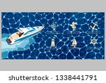 top view speed boat on water... | Shutterstock .eps vector #1338441791