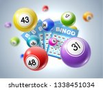 lottery balls and tickets 3d... | Shutterstock .eps vector #1338451034
