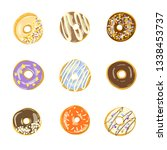 set of nine glazed donuts.... | Shutterstock .eps vector #1338453737