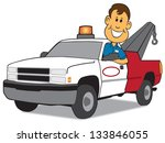 service man and tow truck | Shutterstock .eps vector #133846055