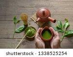 matcha green tea and japanese...   Shutterstock . vector #1338525254