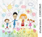 funny colorful child's drawing... | Shutterstock . vector #133852865