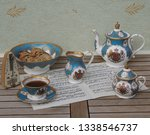 english teacup with saucer ... | Shutterstock . vector #1338546737