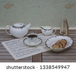 english teacup with saucer ... | Shutterstock . vector #1338549947