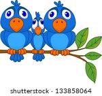 smaller bird squeezed by bigger ... | Shutterstock .eps vector #133858064