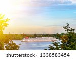 Cruise ship on the Volga river near the Volga embankment of the city of Yaroslavl