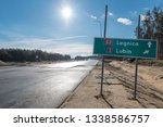 Road sign at the being built express road S3 between Lubin - Polkowice in Poland