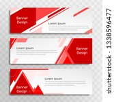 a set of red banner templates... | Shutterstock .eps vector #1338596477