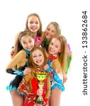 group of beautiful gymnasts | Shutterstock . vector #133862684