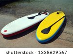 rental paddle boards at the... | Shutterstock . vector #1338629567