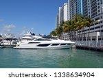 luxury white motor yacht moored ... | Shutterstock . vector #1338634904