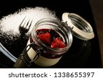 panna cotta with rasperry and... | Shutterstock . vector #1338655397