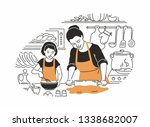 mother and daughter cooking  ... | Shutterstock .eps vector #1338682007