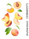 Falling Fresh Peach Isolated O...