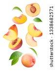 Falling Fresh Peach Isolated On ...