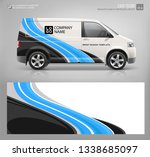 Stock vector van wrap decal for livery branding design and corporate identity company abstract graphic of blue 1338685097
