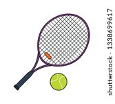 flat design icon of tennis...