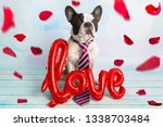 french bulldog with love shape...   Shutterstock . vector #1338703484