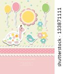 vintage doodle baby card raster ... | Shutterstock . vector #133871111