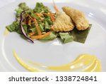 fried potato filled pastry with ... | Shutterstock . vector #1338724841