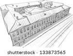 architectural sketch | Shutterstock .eps vector #133873565